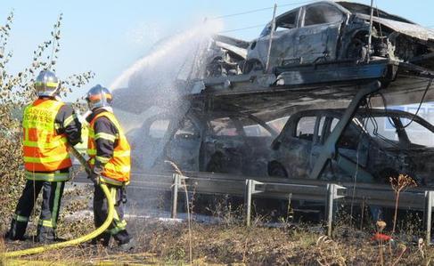 Santenay (21)/  Le camion prend feu : gros bouchon sur l'A 10
