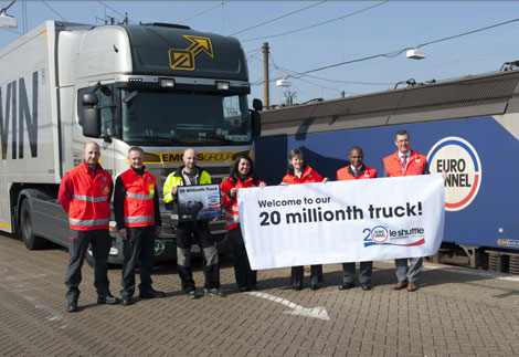 IMAGE. Eurotunnel accueille le 20 millionième camion dans ses navettes