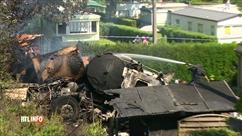 BELGIQUE:  PANNE DE FREINAGE / Dramatique accident de la route à Theux: un camion Ukrainien prend feu, deux morts