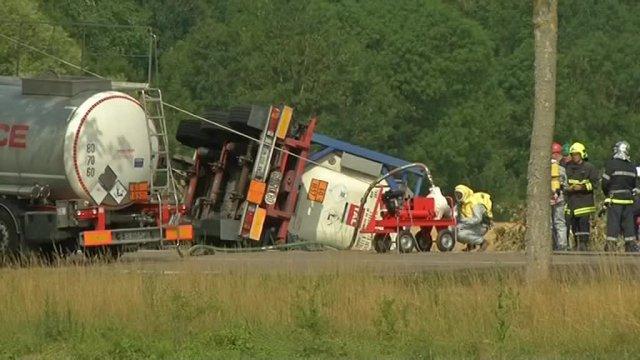 Pougy (Aube) : Accident d'un camion transportant un produit chimique