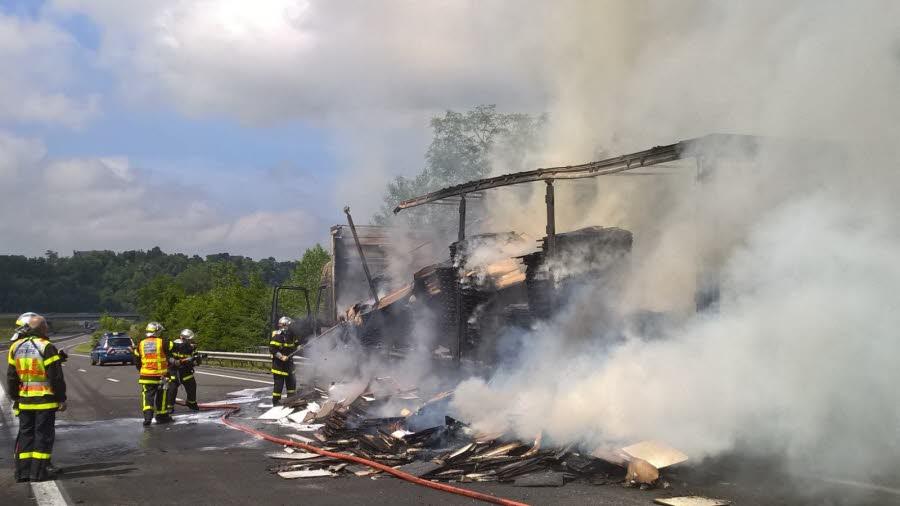 LA TOUR DU PIN A43 : gros bouchon après un incendie de camion