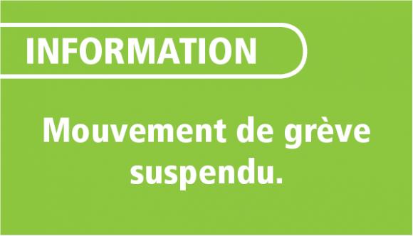 Mouvement de grève suspendu …avant d'avoir débuté!